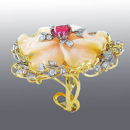 Stones - Diamonds, Spinel, Opal. Material - gold 750 ˚