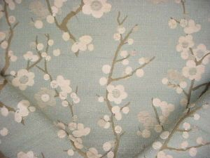 25 Y Valdese Beautiful Cherry Blossom Aqua Fl Chenille Upholstery Fabric