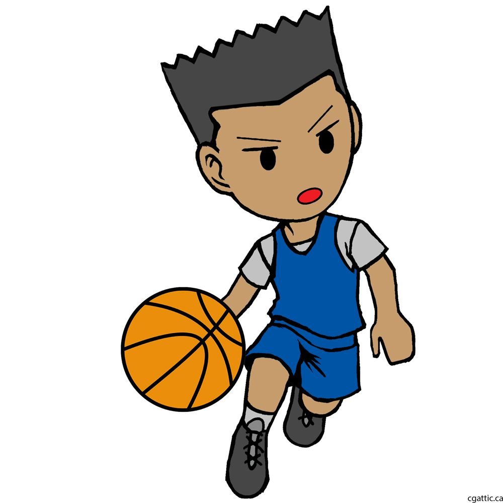 Cartoon Basketball Player Drawing In 4 Steps With Photoshop Basketball Drawings Sports Drawings Basketball Players