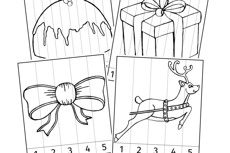 CHRISTMAS NUMBER SLICE COLOURING PICTURE PUZZLES/GAMES