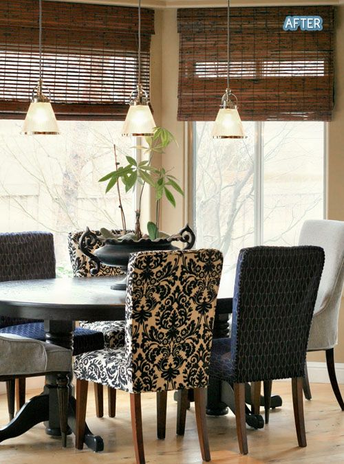.mix & match dining room chairs.