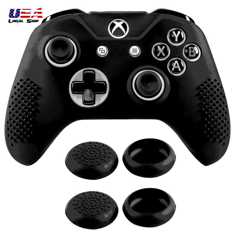 4 99 Black Silicone Gel Case For Xbox One S X Controller With 4