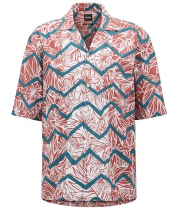 5982e6d5c0a BOSS Men's Regular/Classic-Fit Tropical-Print Cotton Shirt in 2019 ...