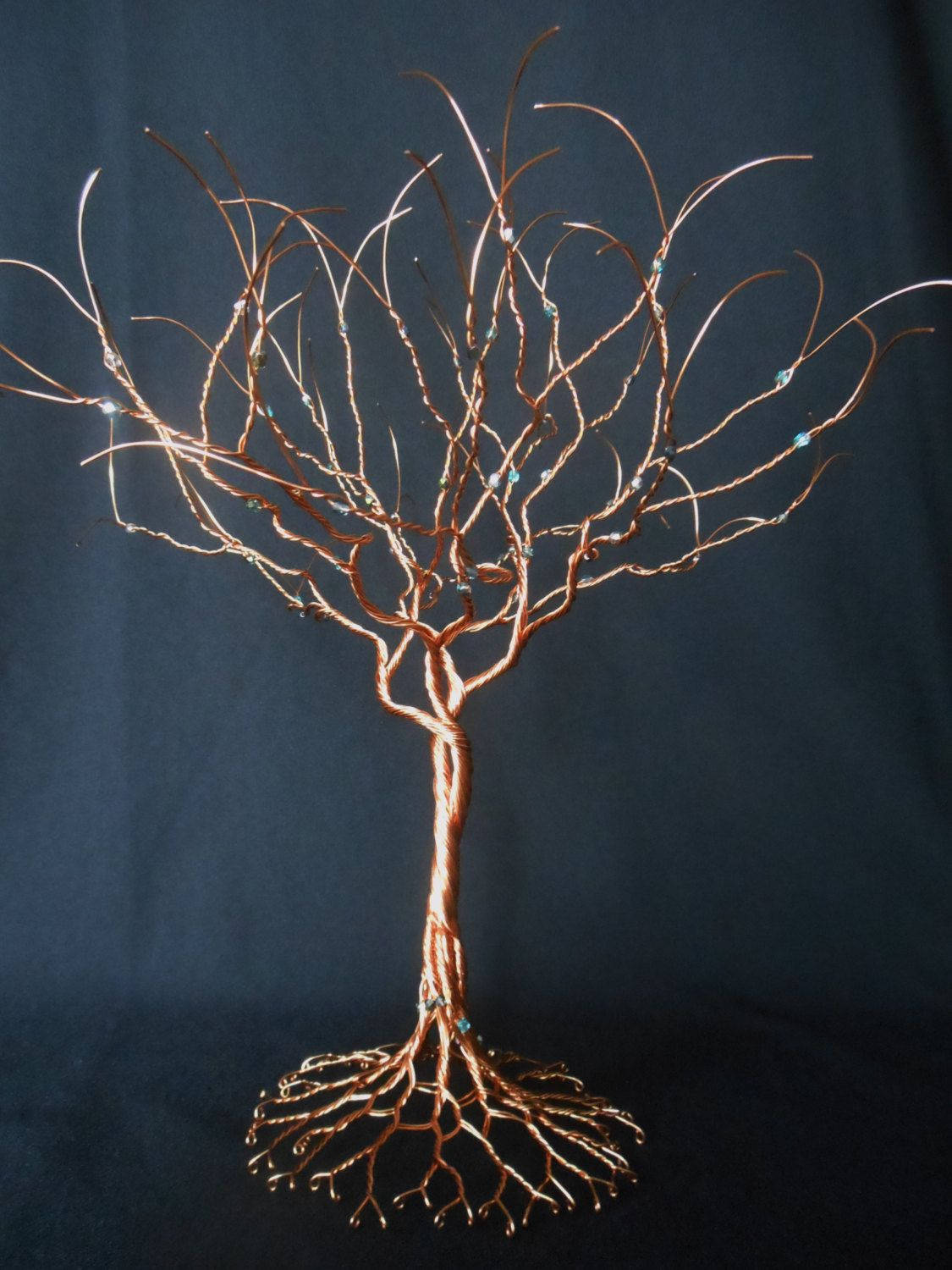 PRICED!!! Twisted Copper wire, a beautiful tree adorned with Aqua ...