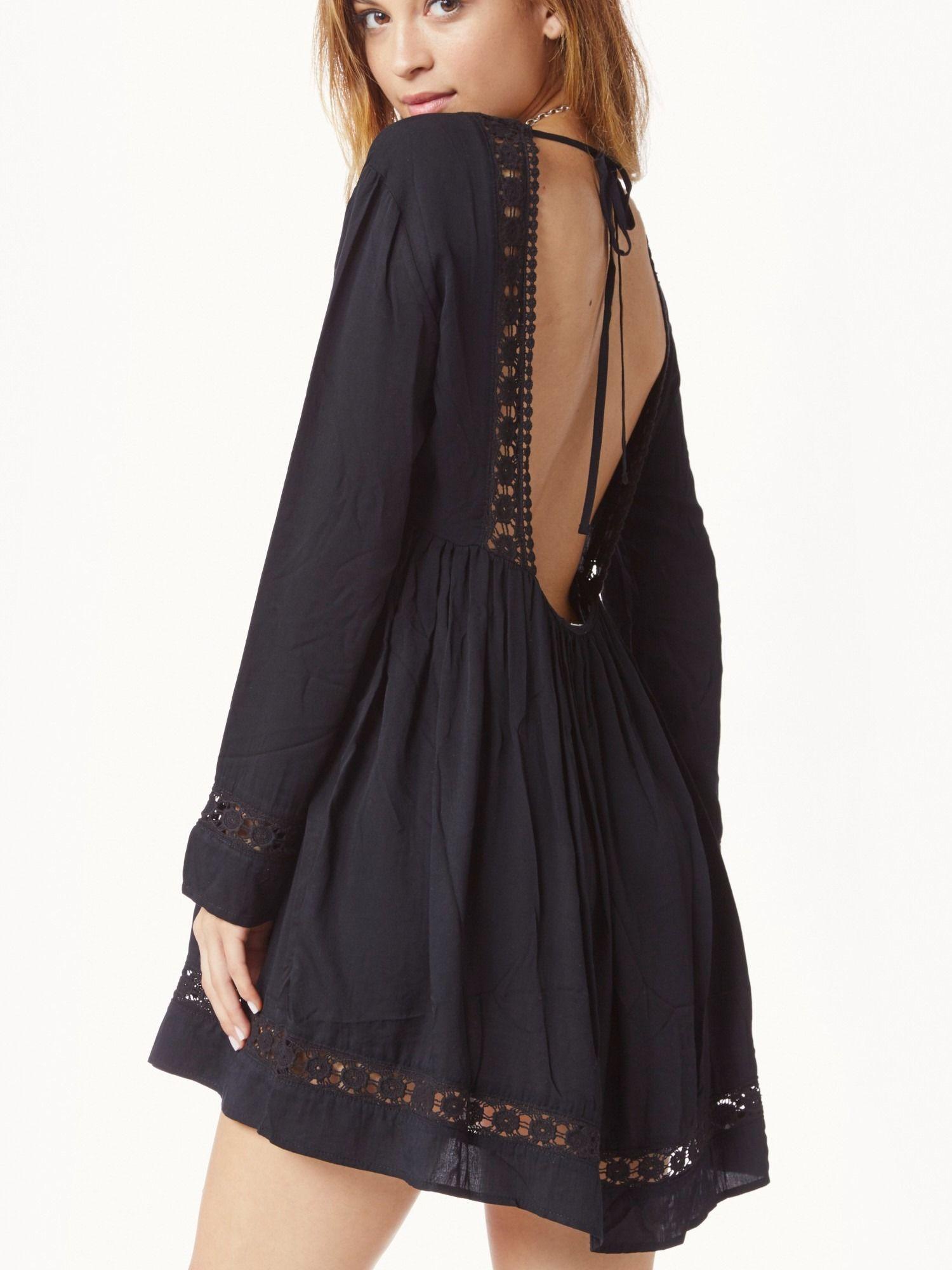 Black long sleeve backless dress black boho dress long
