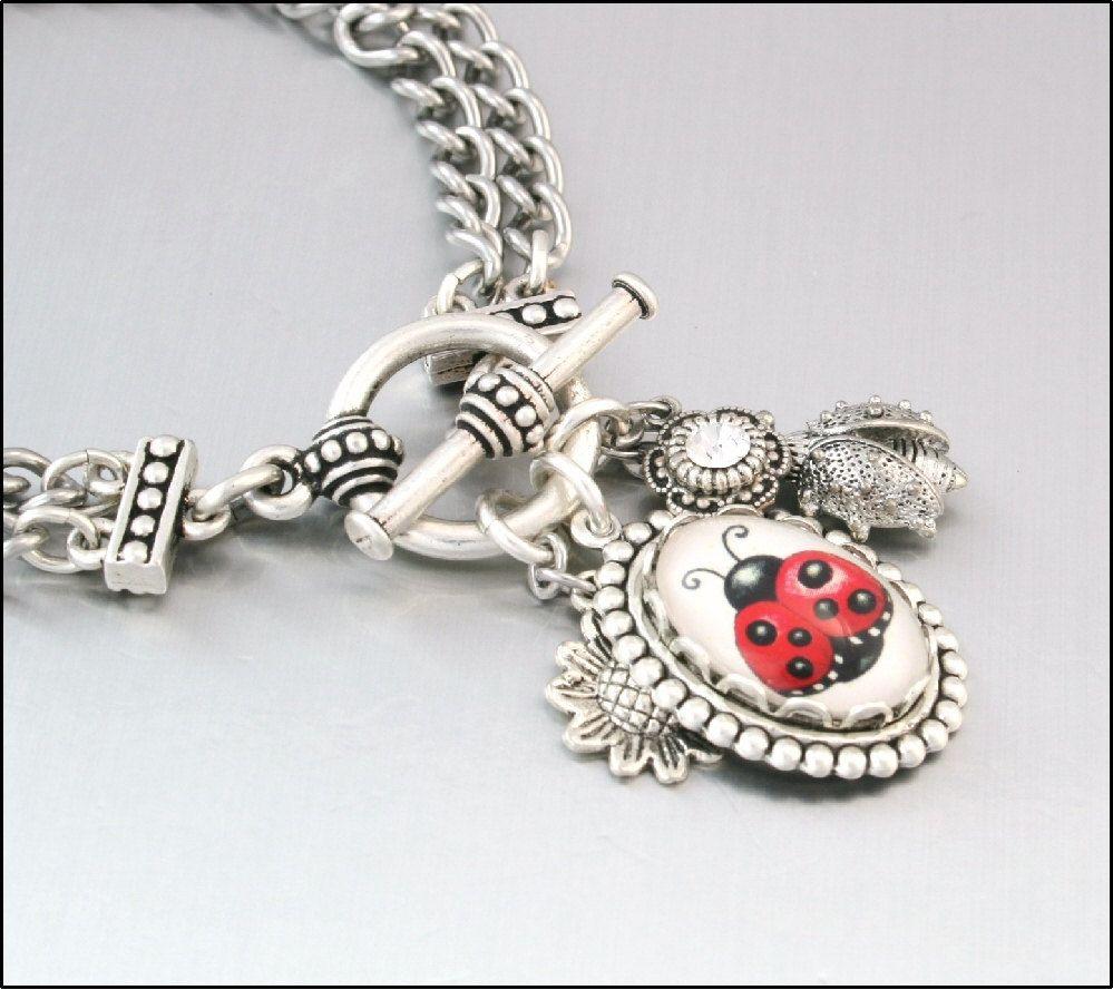 Lucky Ladybug Charm Bracelet Silver By Blackberrydesigns