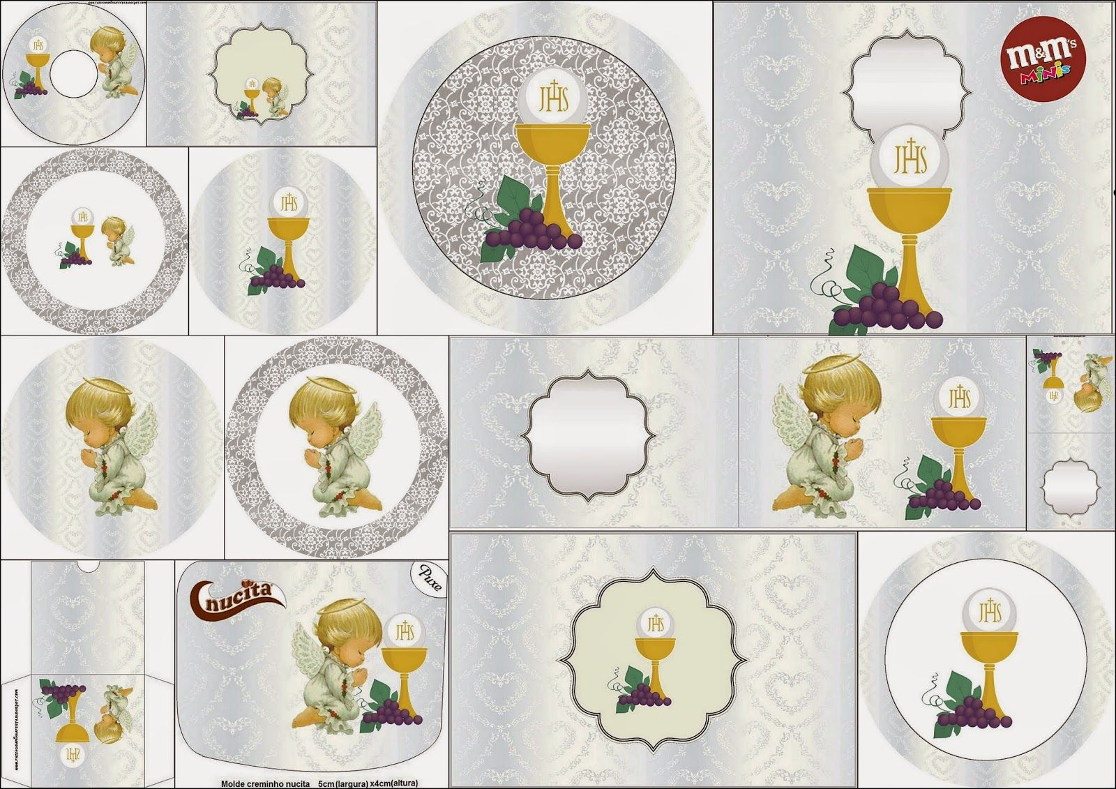 First Communion Free Printable Candy Bar Labels In Silver With Precious Moments Angels