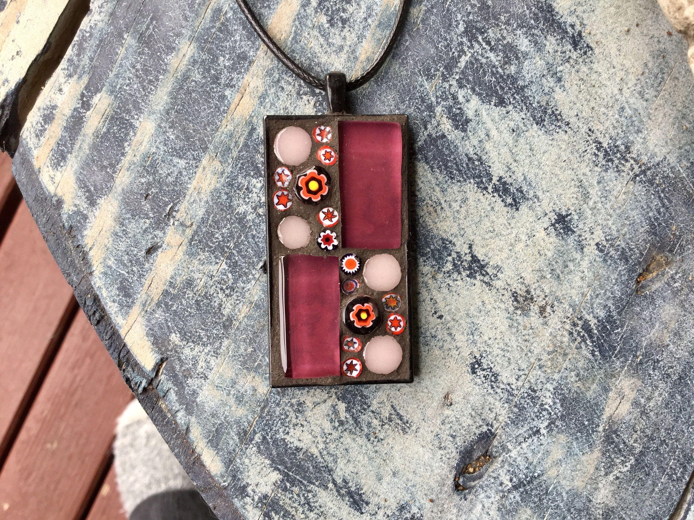 Flower mosaic pendant necklace by mosaicsandgemstones on etsy https items similar to flower mosaic pendant necklace on etsy aloadofball Choice Image