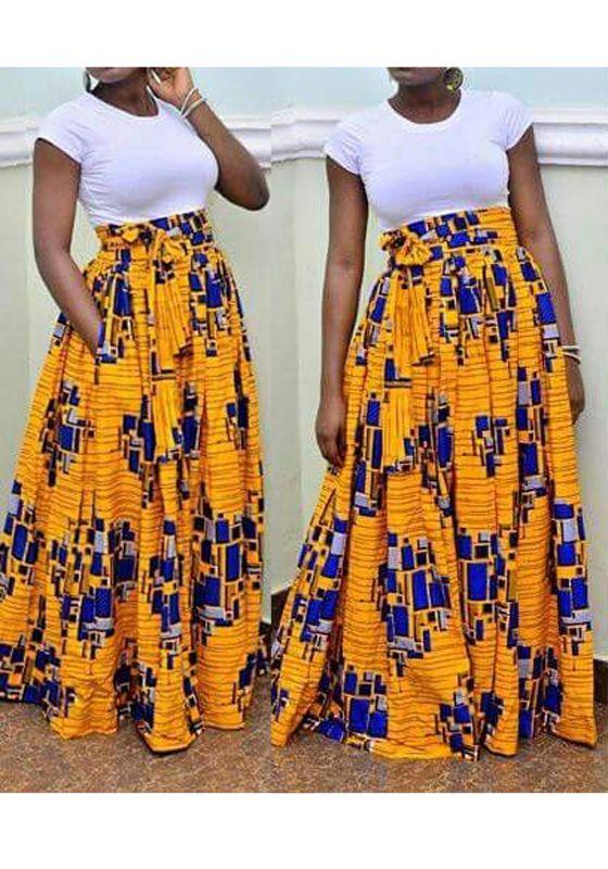 jupe longue en wax drap taille haute mode jaune femme yoyo en 2019 jupe longue taille haute