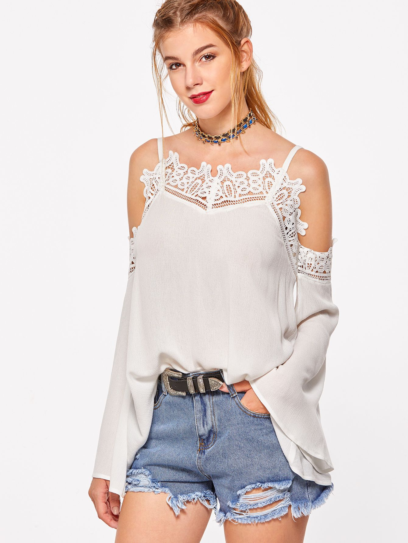 c5ae60fa714 Shop White Lace Trim Cold Shoulder Bell Sleeve Top online. SheIn offers  White Lace Trim Cold Shoulder Bell Sleeve Top & more to fit your fashionable  needs.