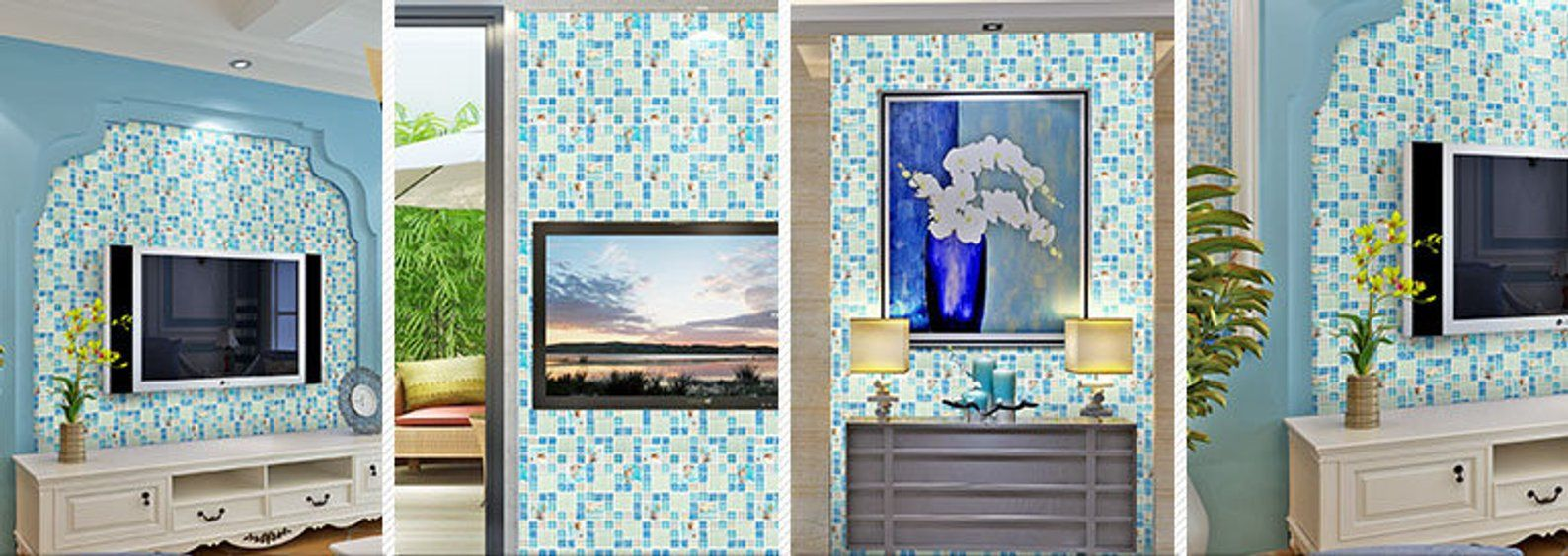 Blue and Iridescent White Glass Tile with Conch & Shells