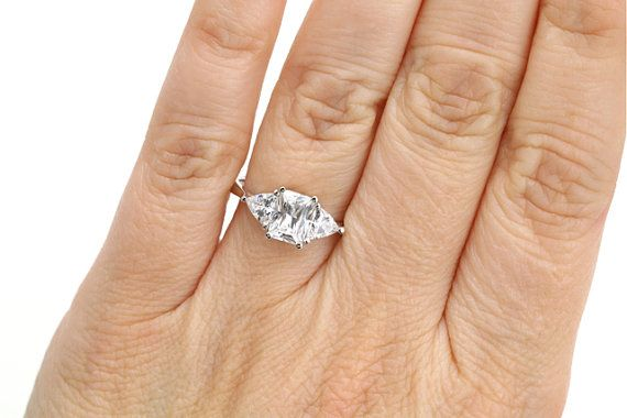 Moissanite+3+Stone+Engagement+Ring+Radiant+Trillion+by+RareEarth,+$2050.00