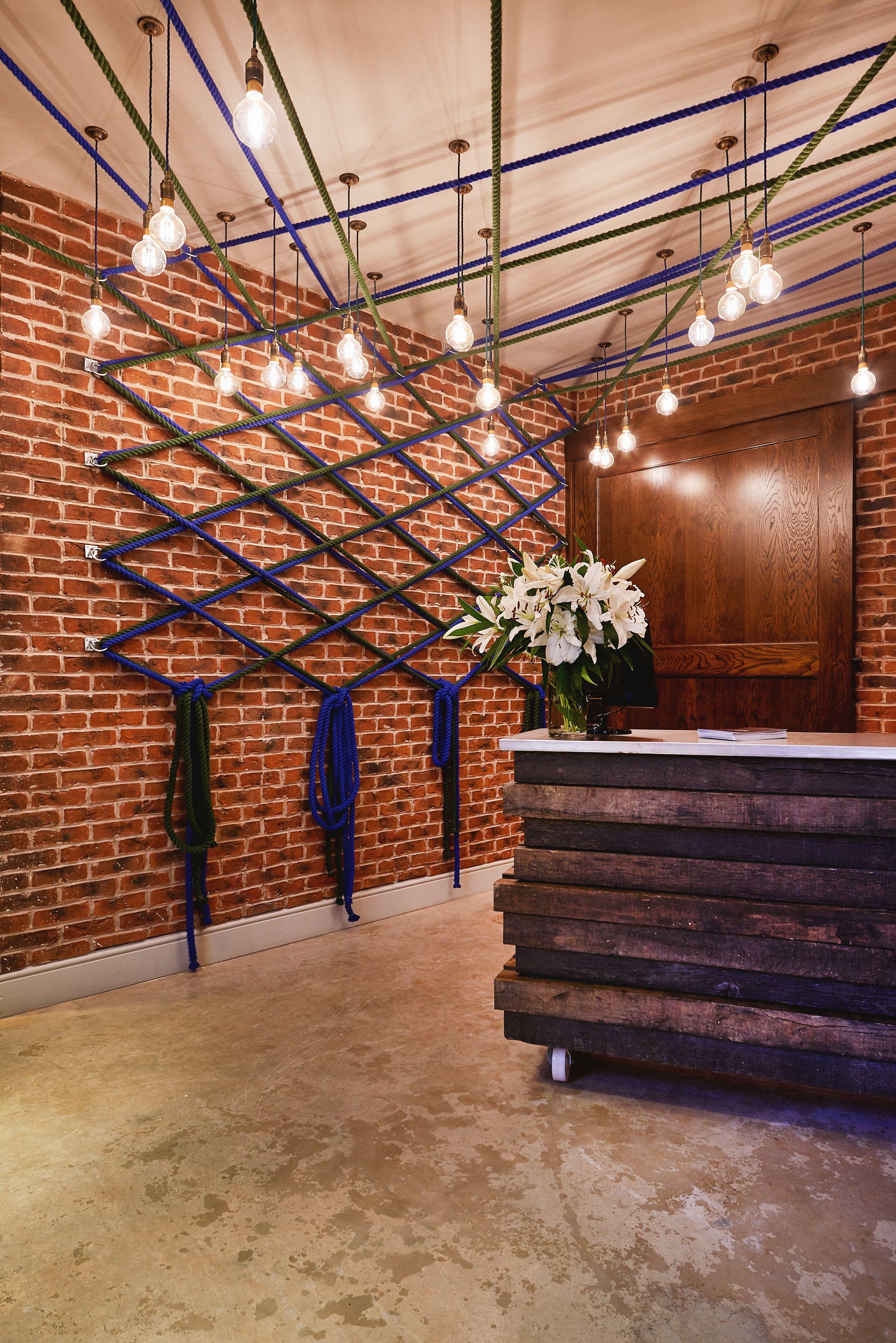 Horizontal Timber Chunky Blue Grey Stained Bar Detail Polished Concrete Floor Against Rich Warm Brick Textu Restaurant Design Bar Design Restaurant Rope Decor