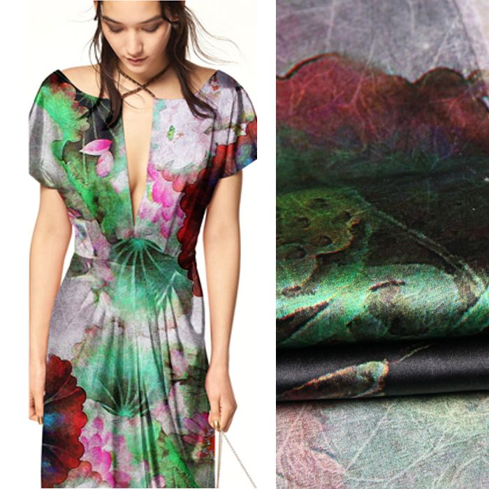 76a865d5cc4b4 118cm wide 19mm 93% silk & 7% spandex lotus print pink green stretch ...