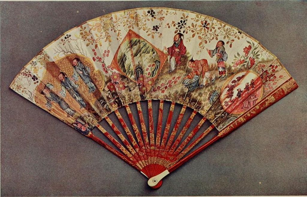 Vintage Fan Chinese Paper Mount Painted And Richly Gilt