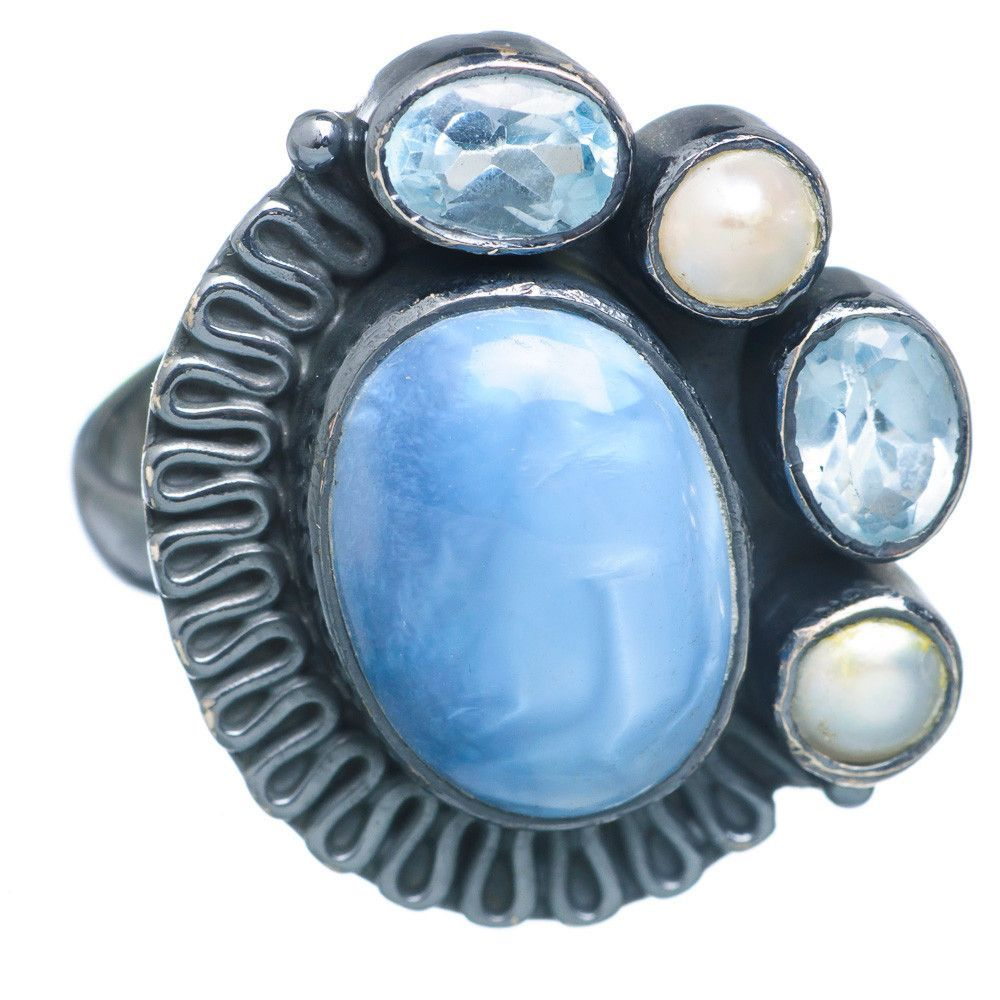 Owyhee Opal, Blue Topaz, Cultured Pearl Black Rhodium Plated Ring Size 8 RING719121
