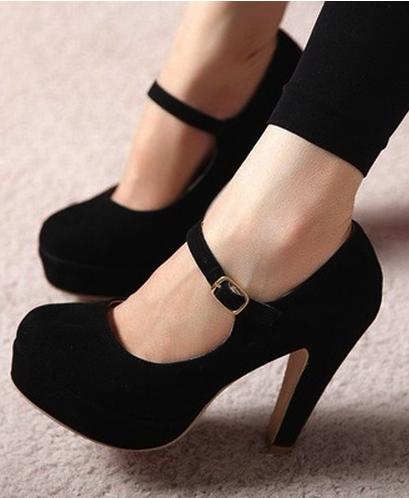 Black Mary Jane High Heels