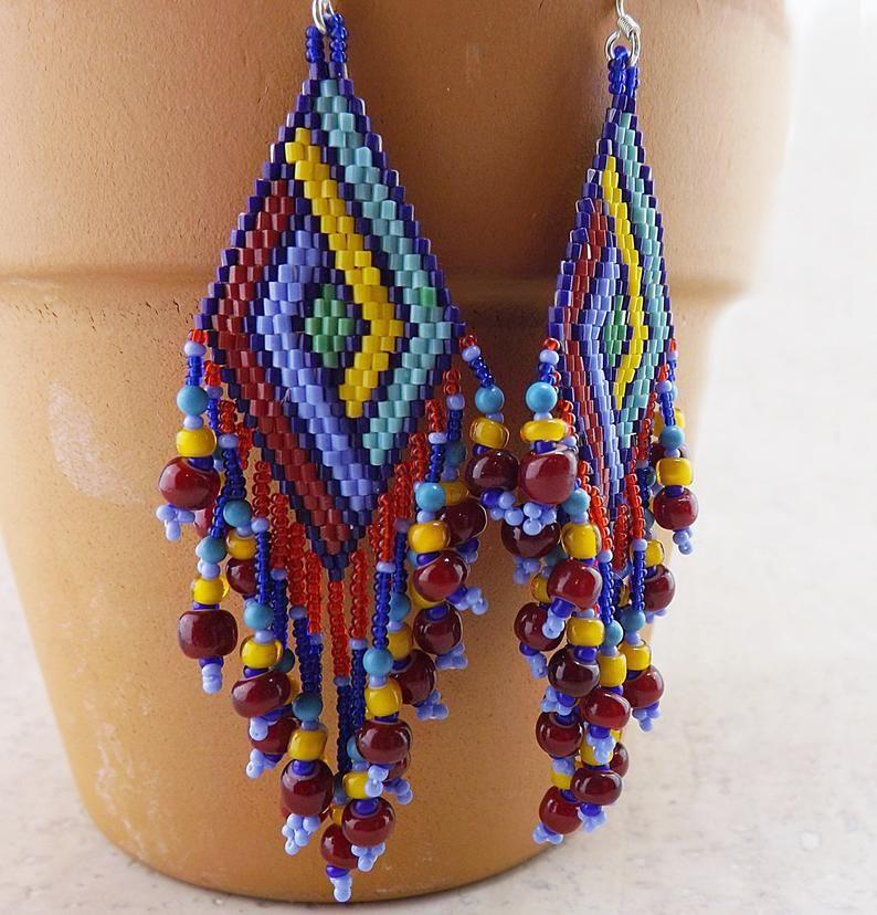 Colorful tassel necklace with gemstone tassel bright blue and yellow beaded tassel seed bead tassel
