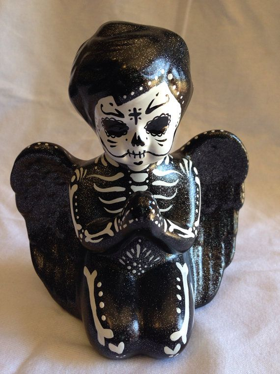 Day of the dead ceramic angel center piece by Dulcecalaveritas