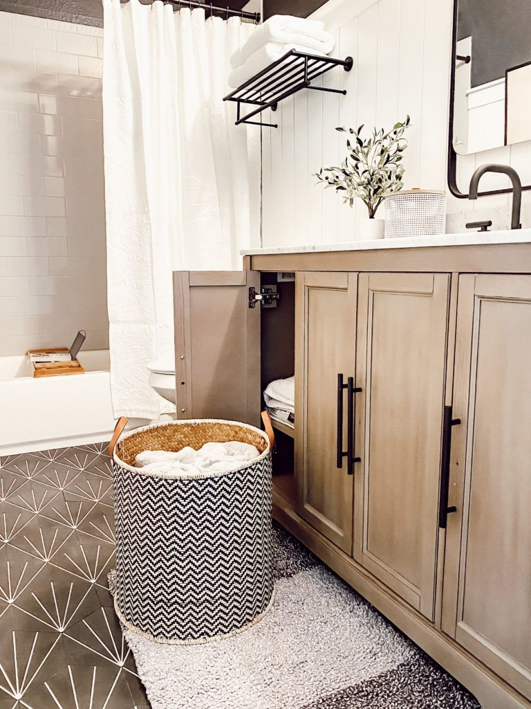 Bathroom Update With The Home Depot Ourfauxfarmhouse Com Small Bathroom Decor Bathroom Decor Apartment Bathroom Decor Colors