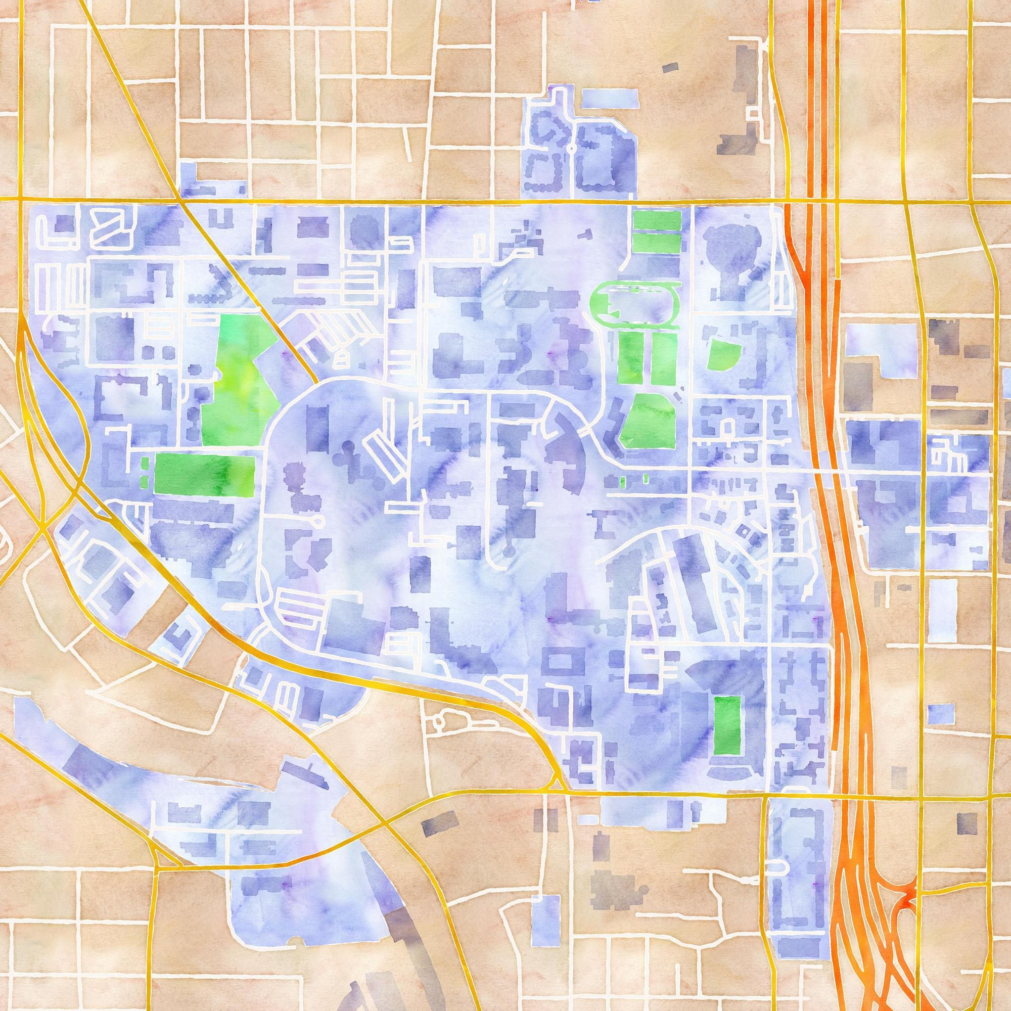 Map Of Georgia Tech Campus.Georgia Tech Watercolor Map Map Tiles By Stamen Design Under Cc