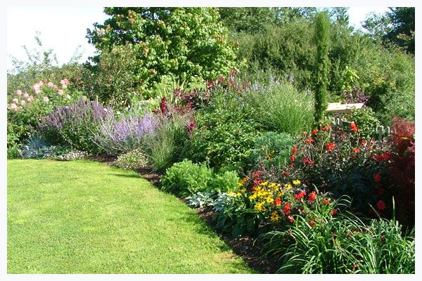Shrub border with annual fillers - Good Variety Of Color And Heights Garden Ideas Pinterest