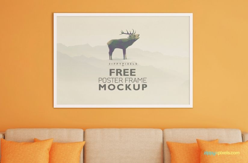 download free frame mockup for poster display in realistic living room environment zippypixels mockup