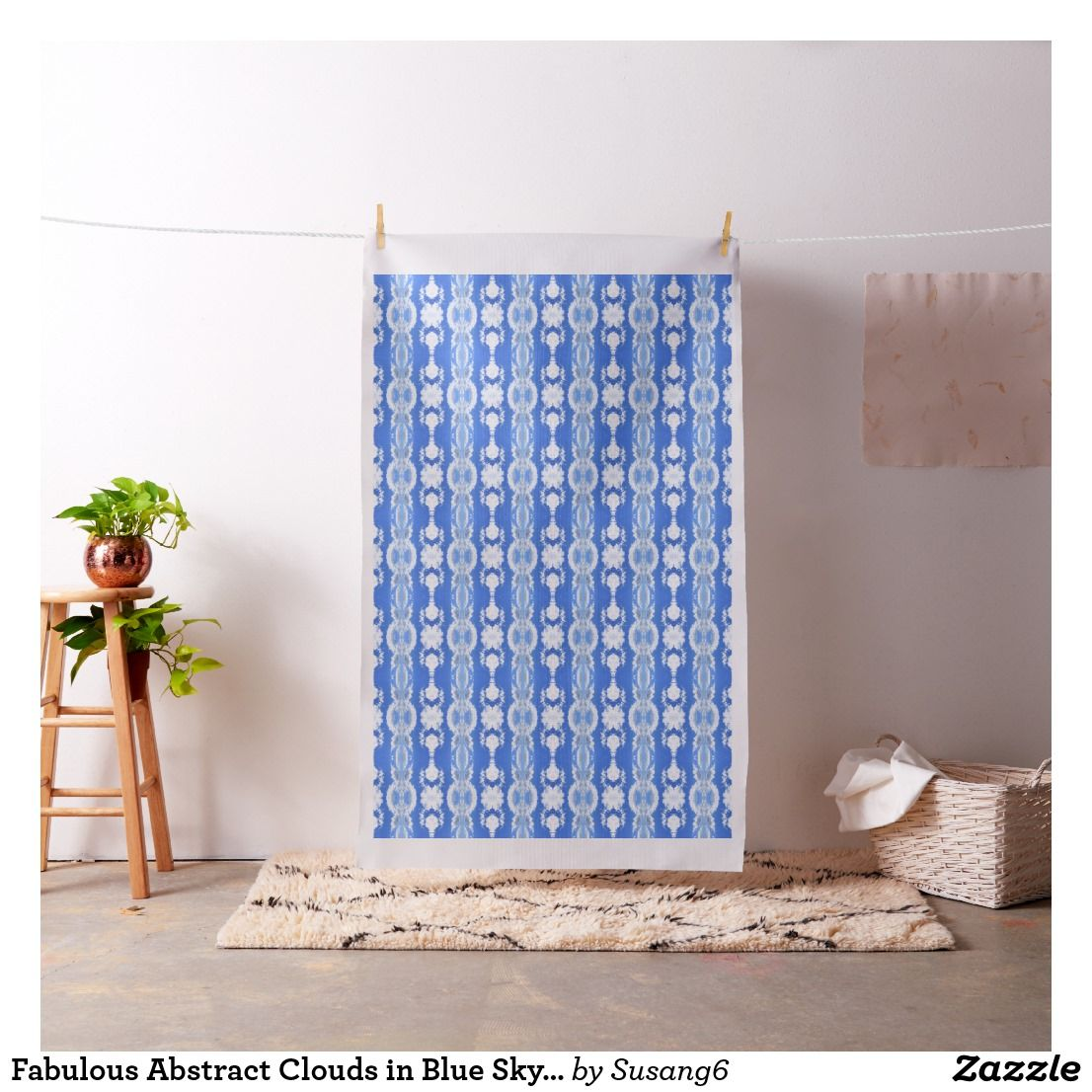 Fabulous Abstract Clouds in Blue Sky Craft Fabric