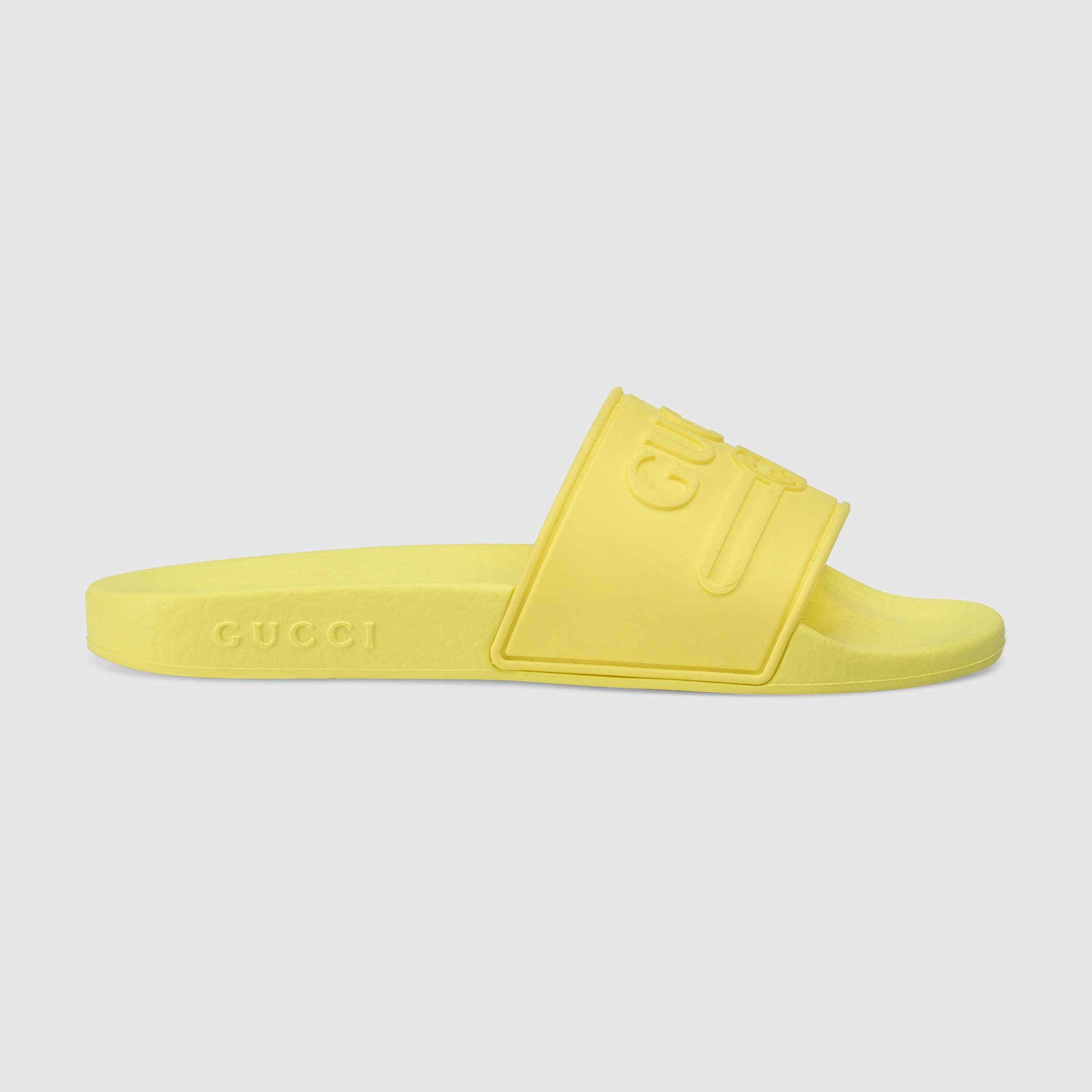 ae4fe8f4c Children's Gucci logo rubber slide sandal in Fluorescent yellow rubber |  Gucci Girls' Sandals & Slides