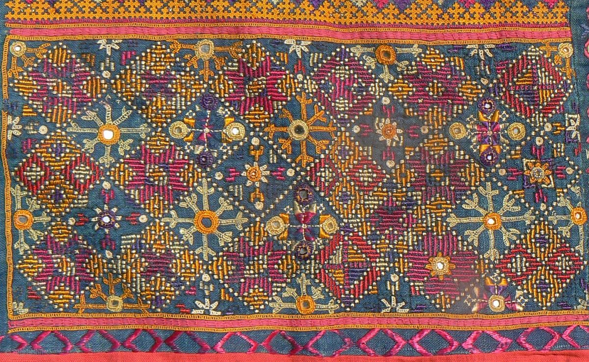 "Excellent Old Indian Embroidered Textile from the Thar Desert region in  Rajasthan near Jaisalmer. This beautiful textile, known as ""thakia,"" was  sewn as a ..."