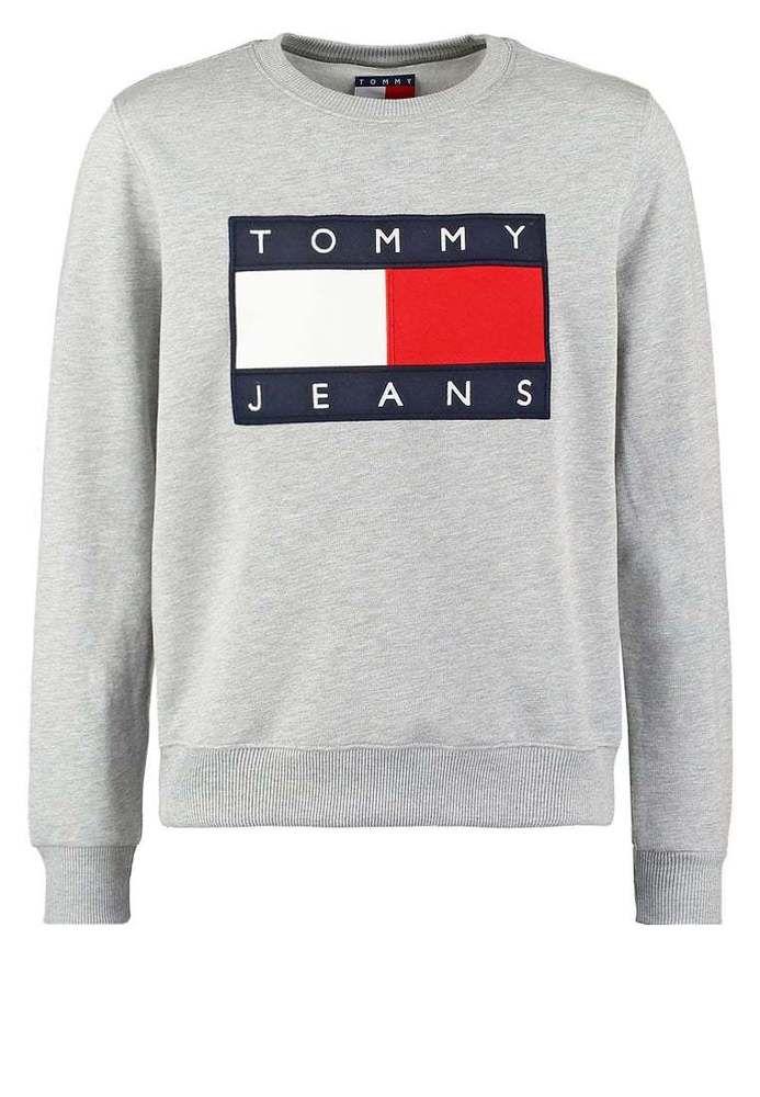 3975cd742a76 BNWT Tommy Hilfiger Jeans Flag Logo Sweatshirt TJM 90s Unisex Men Sweats  Grey  TommyHilfiger