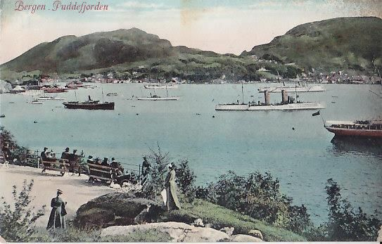 Bergen - Puddefjord with many warships 1909