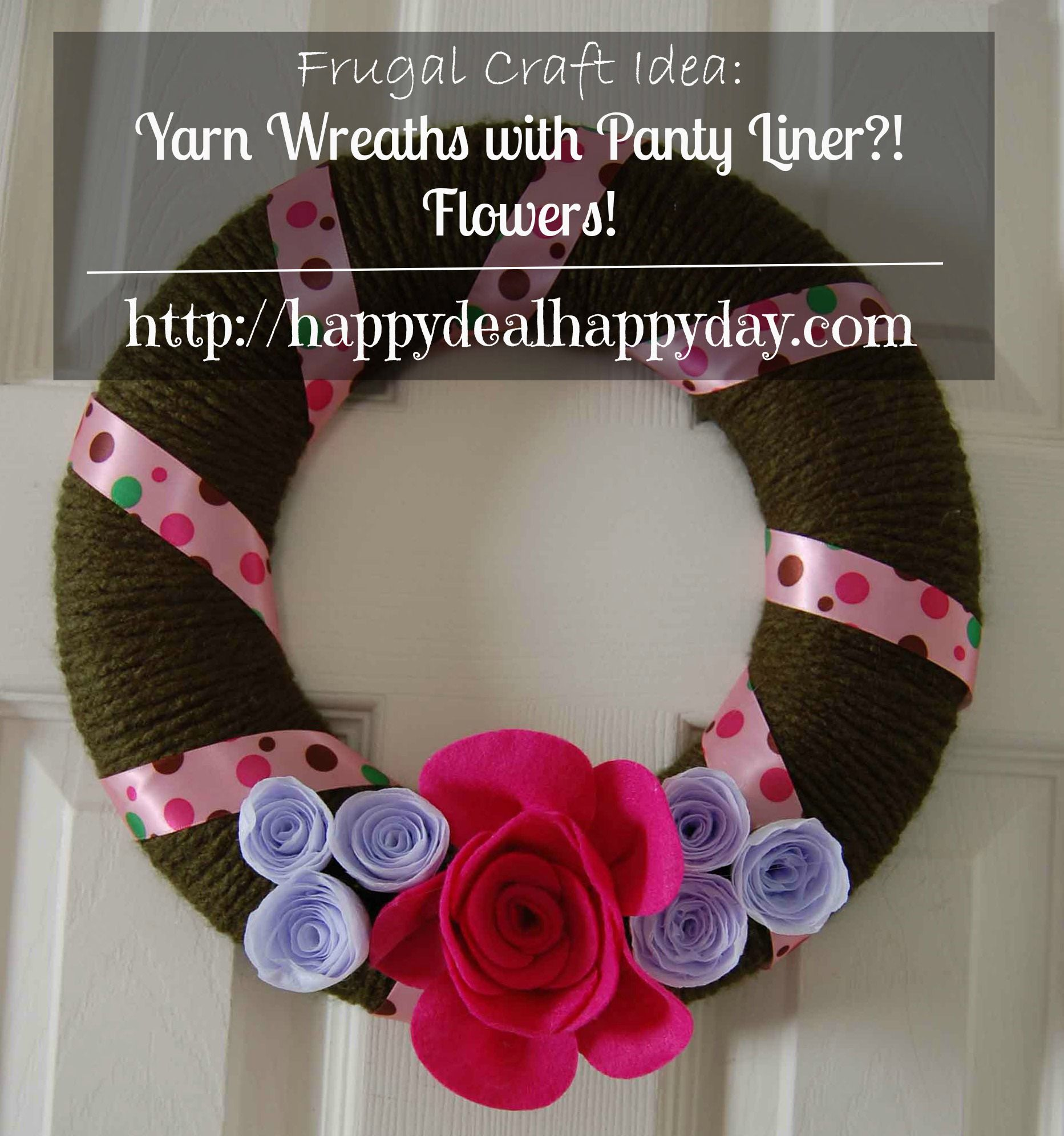 8 Ways to Decorate Your Home Using Items From The Grocery Store - Yarn Wreath  happydealhappyday.com