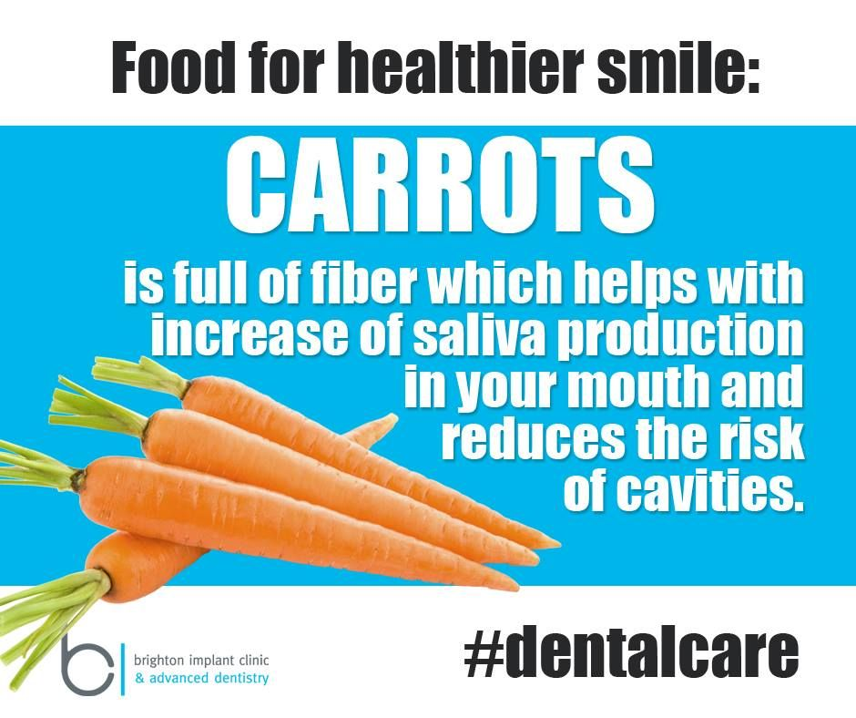 Food for healthier smile CARROTS is full of fiber which