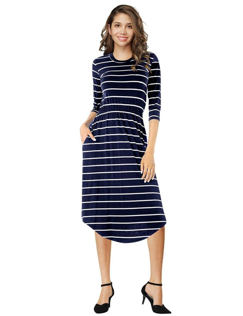 VAN CHY Women's 3/4 Sleeve Elastic Waist Pockets Swing Casual Flare Striped  Midi Dress - Shop2online best woman's fashion products designed to provide