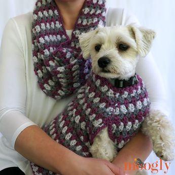 Well Dressed Dog Coat #dogcrochetedsweaters Well Dressed Cowl (and matching Well Dressed Dog Coat) - free crochet patterns on Mooglyblog.com! #dogcrochetedsweaters