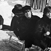 "The Beatles during the filming of ""Help!"" as seen by photographer Roger Fritz."