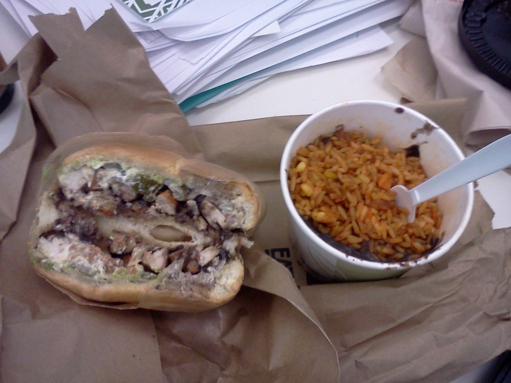 Pollo Asado torta with the Arroz Y Frijoles side from @TheTacoTruck in Boston