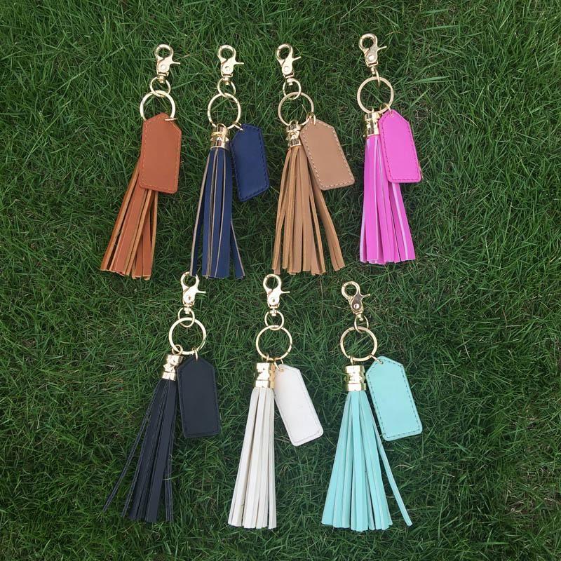 Wholesale Blanks PU Faux Leather Material Key Fob Tassel