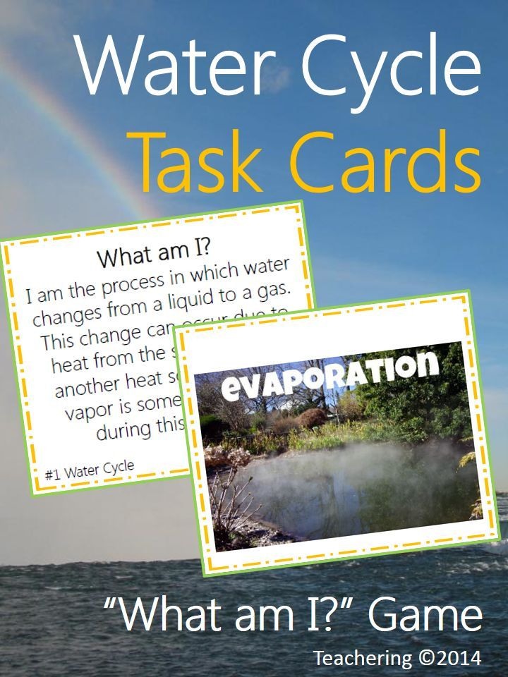 Water Cycle Task Cards What Am I Game With Picture Match