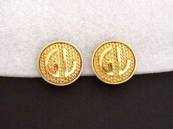 GUY LAROCHE  Vintage gilded earrings by DUVRAIFAUXvintage on Etsy