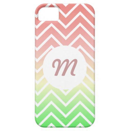 Chevron Monogram iPhone 5/5s Cover (Peach / Green) #iphonecases #iphonecovers #iphone5cases #iphone5covers