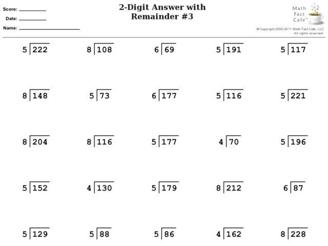 Division Worksheets With Remainders 4th Grade | Long ...