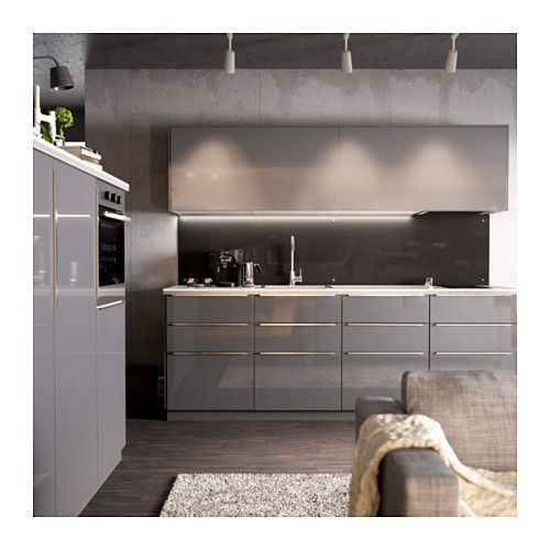 Ikea Ringhult High Gloss Gray Door Drawer Cabinet Kitchen Fronts Ikea Kitchen Grey Kitchens Gloss Kitchen Cabinets