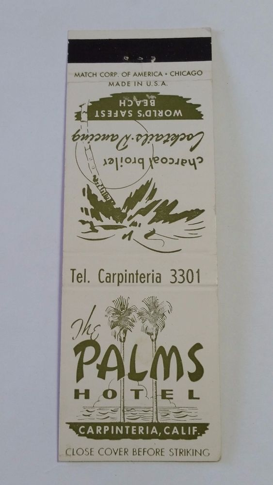 The Palms Hotel Carpinteria California Matchcover To Order Your