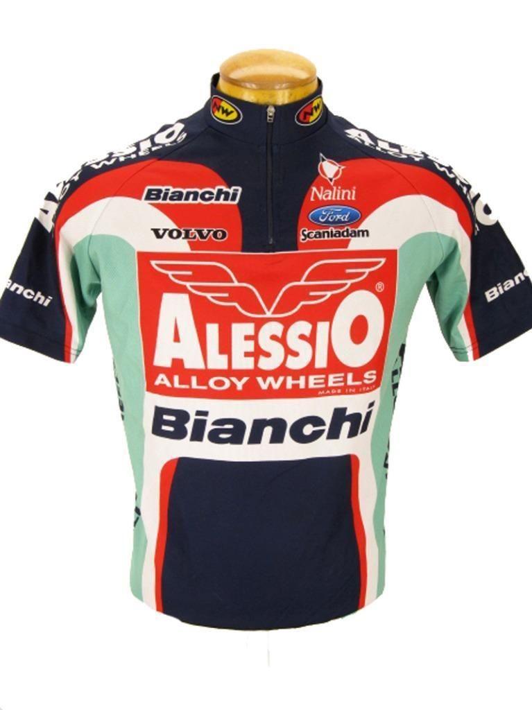 Vintage Bianchi Alessio Cycling Cycliste Jersey Bike Shirt Maillot Maglia M Ebay Maillot