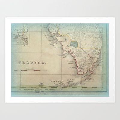 Coconut Point Florida Map.Antique Florida Keys Map Art Print By Karen Grossman 14 99 When
