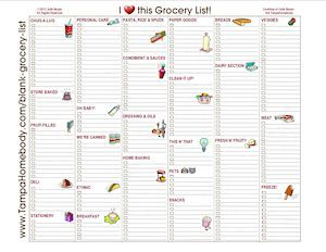grocery list blank with graphics and categories books worth