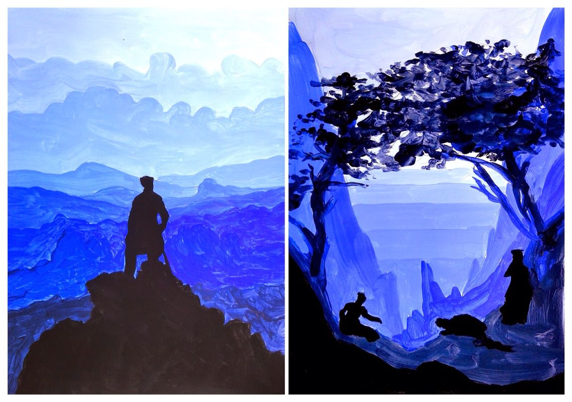 Colors Layered Landscape In 2019 Monochromatic Paintings School