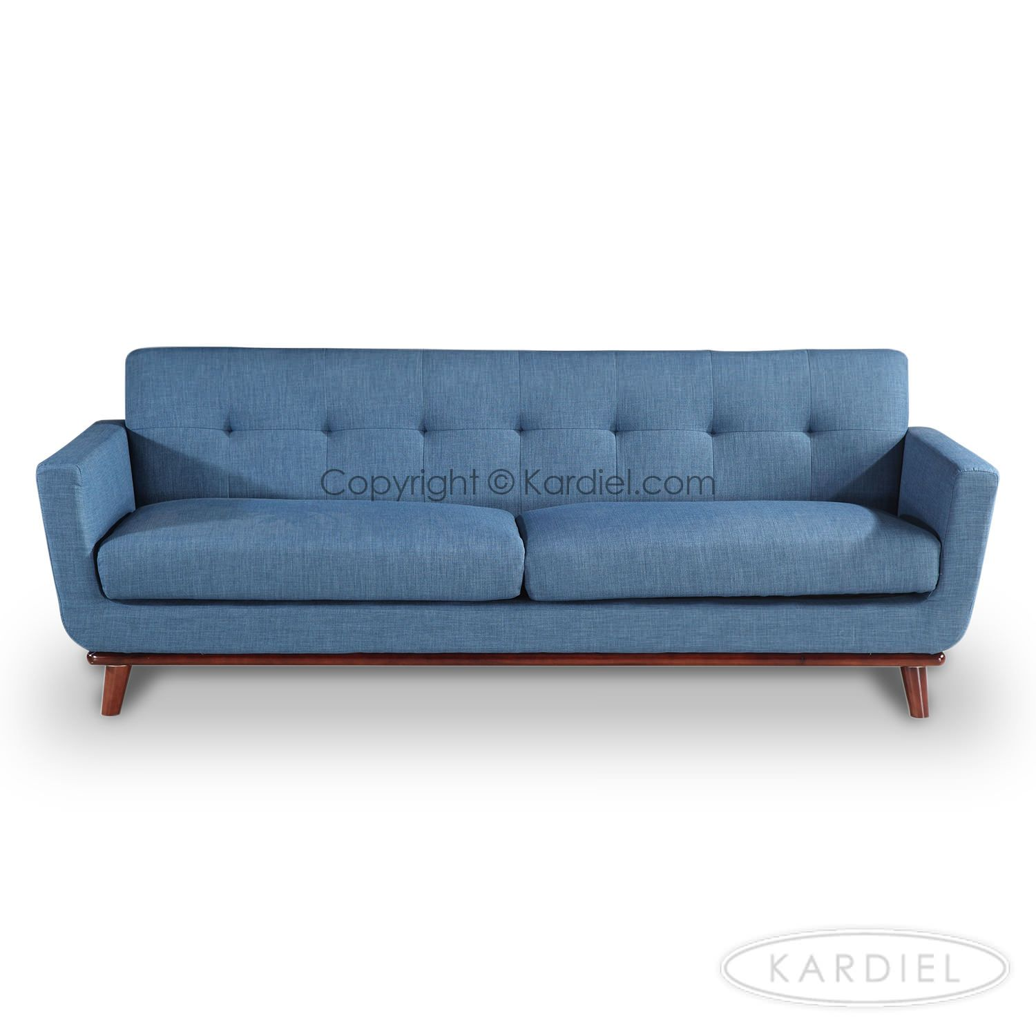 Jackie Mid Century Modern Classic Sofa, Blue Curacao Vintage Tailored Twill  |